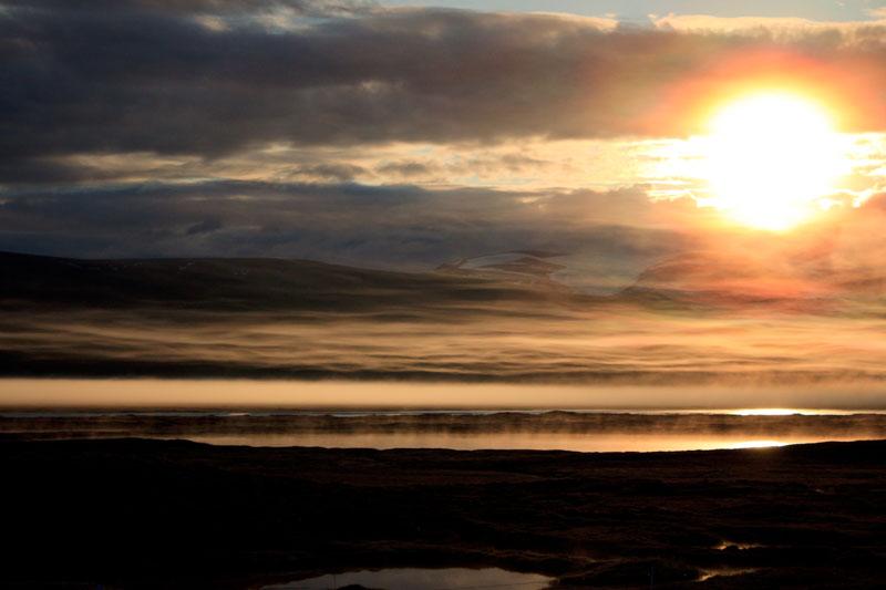 Midnight sun in Nunavut